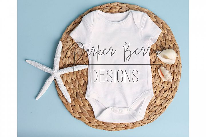 Beach Theme Baby Bodysuit Mockup