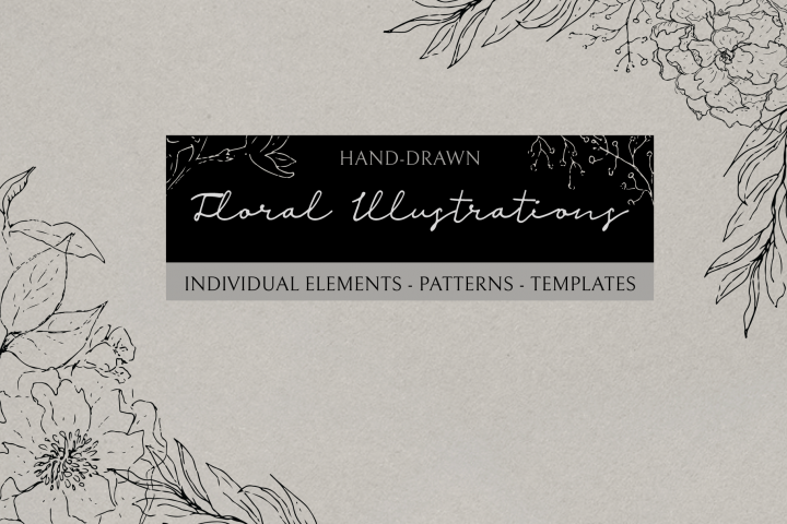Floral Illustrations, Sketchy Hand Drawn Botanical Illustrations