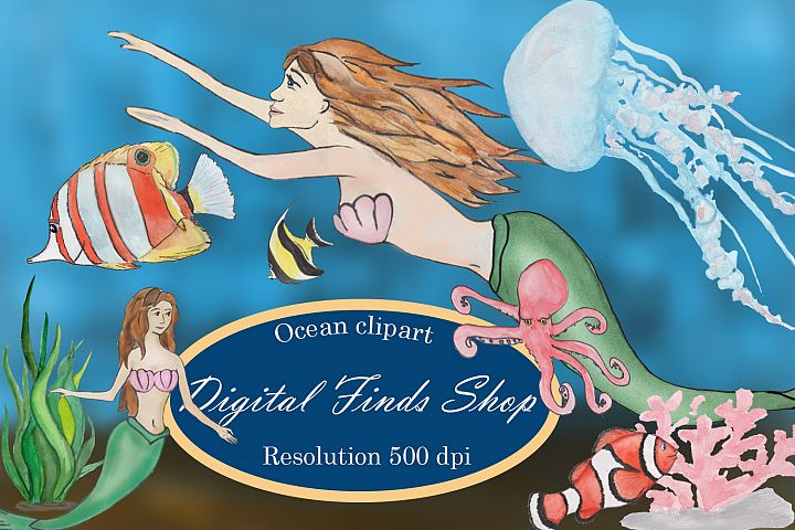 Ocean clipart with mermaid, fish, octopus and jellyfish