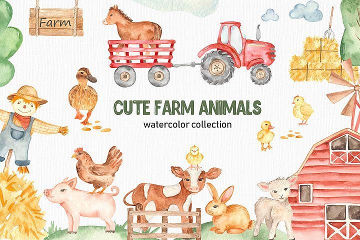Cute farm animals watercolor collection clipart