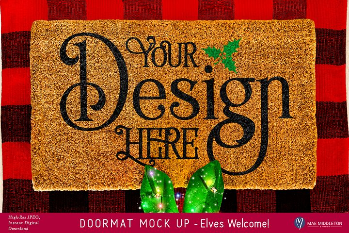 Doormat mock up for Christmas - Elf, styled photo