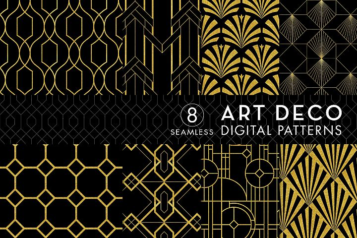 8 Seamless Art Deco Patterns - Black & Gold Set 2