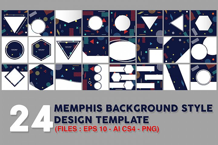 24 Memphis style cards with geometric shapes and patterns