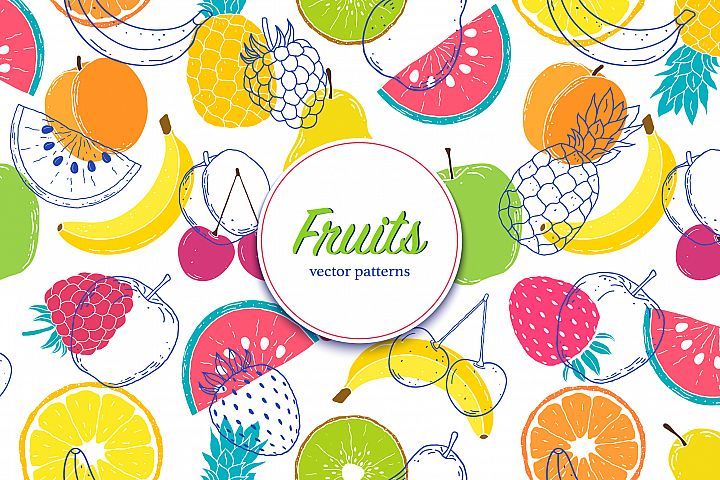 Fruits. Vector patterns.