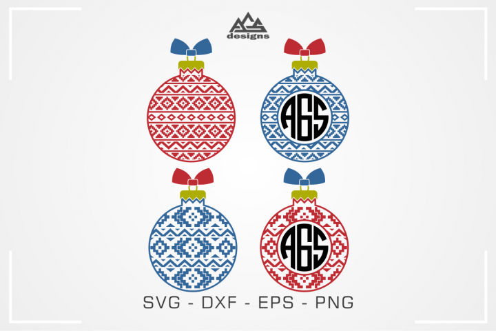 Aztec Christmas Bulb Monogram Frame Svg Design