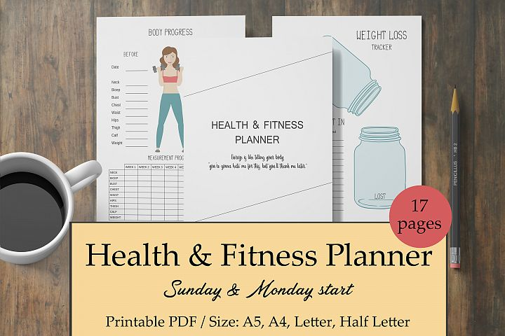 Fitness Planner Printable, Workout Journal, Health Planner