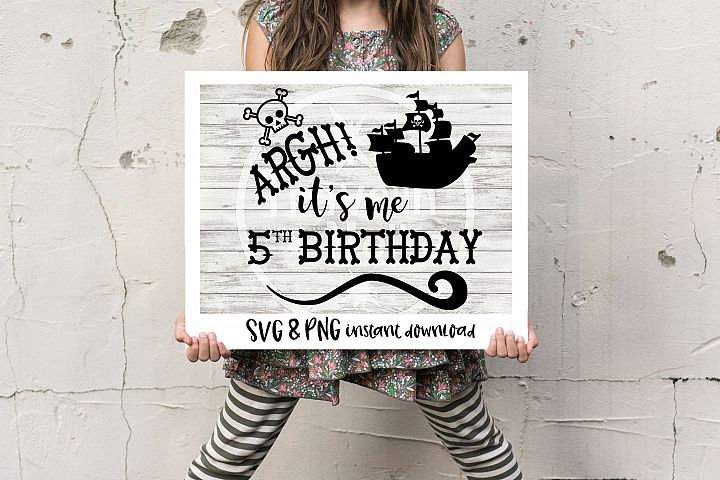 Pirate SVG, Its me 5th Birthday SVG, Fifth Birthday svg, Pirate Ship svg, Pirate Theme svg, Five Year Old svg, Vector File, Svg for Cricut