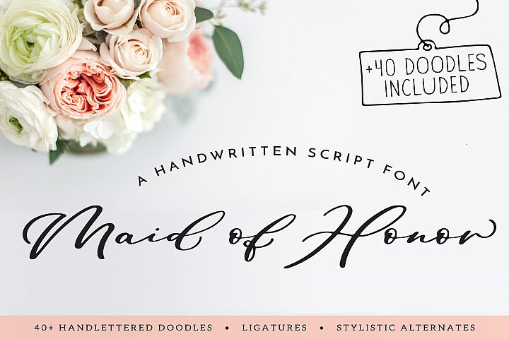 Maid Of Honor - A script font with matching doodles