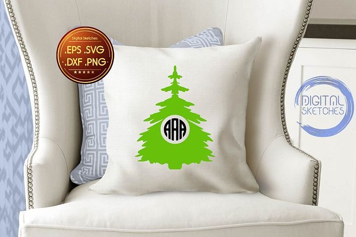 Tree Vector Graphic, Christmas SVG, Monogram Clipart