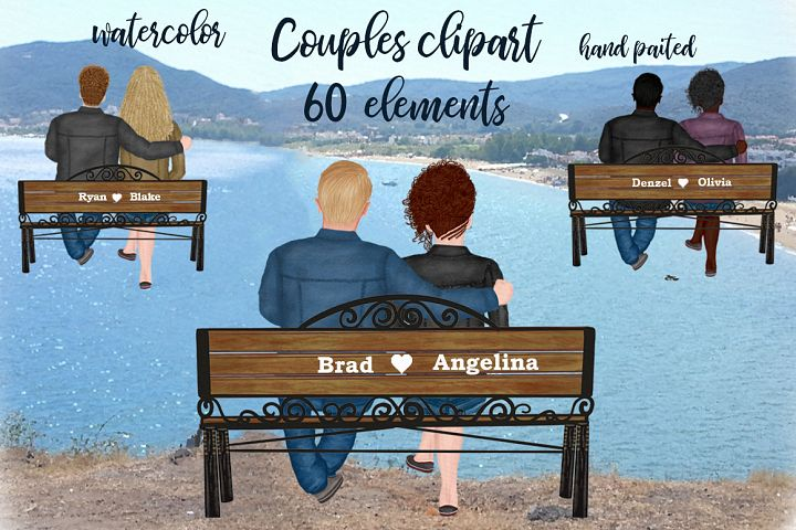 Couple on the bench Custom Couples Jeans Jacket Girl and Boy