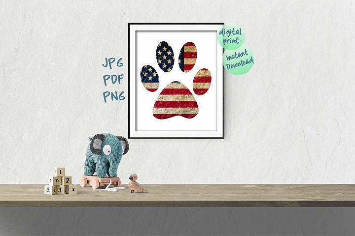 Patriotic dogs paw print flag PNG printable Digital