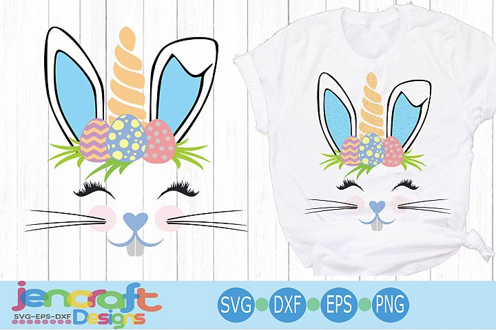 Boy Easter Bunny face Unicorn svg, eps, dxf