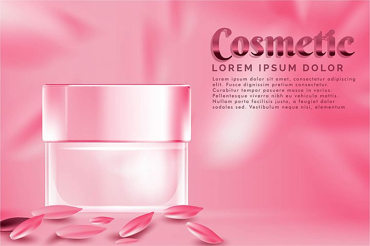 cream jar cosmetic products ad, with pink petal rose backgro