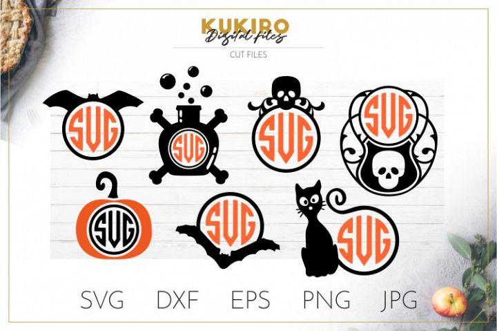Halloween Monogram frames - Bat, skull, poison, cat, pumpkin