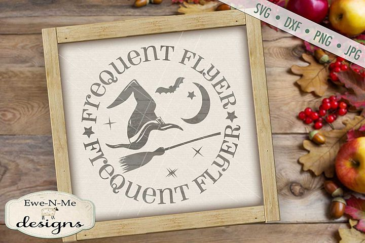 Frequent Flyer Witch Hat Broom Moon Stars Halloween SVG DXF