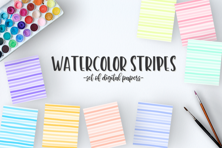 Watercolor Stripes - High Quality Digital Papers
