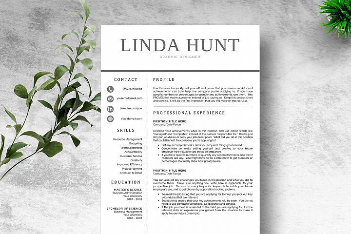 Chic Word Resume Template CV