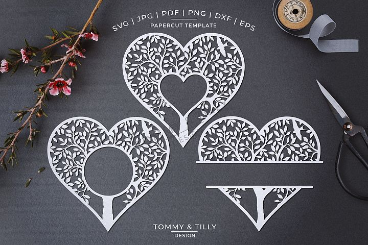 Monogram Heart Tree x 3 - Papercut Template SVG EPS DXF PNG