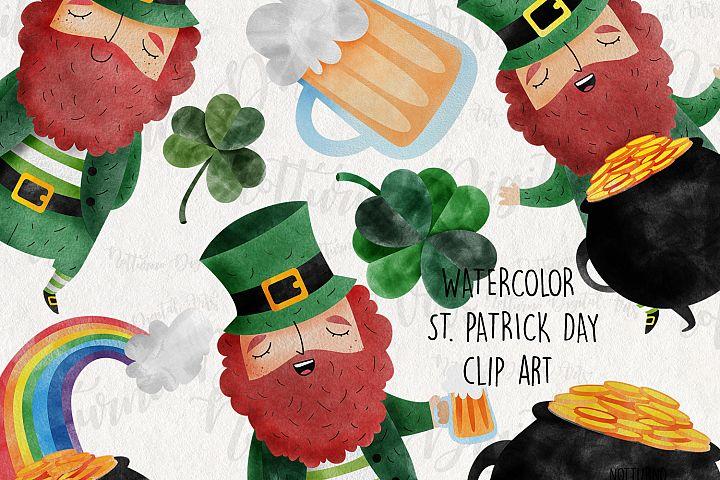 Watercolor St. Patricks Day Clipart. Leprechaun, Shamrock