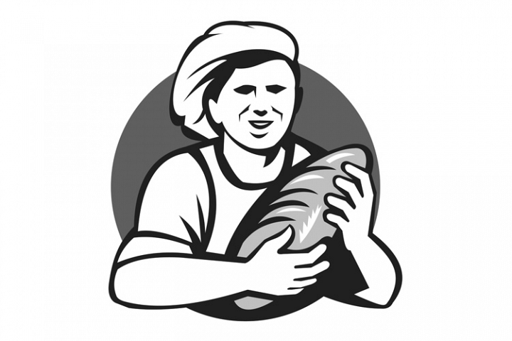 Baker Holding Bread Loaf Grayscale Retro