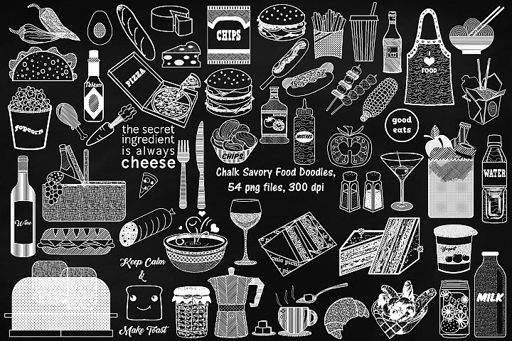 Chalk Savory Food Doodles Clip Art