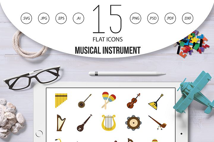 Musical instrument icon set, flat style