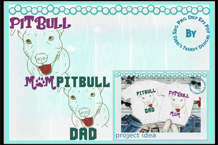 Pitbull svg png dxf eps pdf terrier dog Mom and Dad design