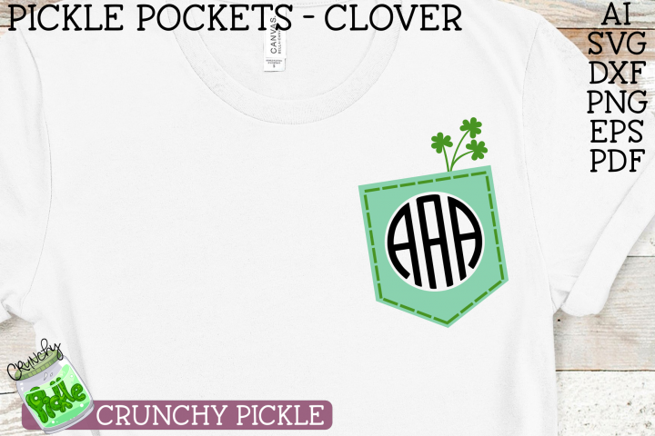 Pickle Pockets - Monogram Clover Shamrock St. Patricks SVG