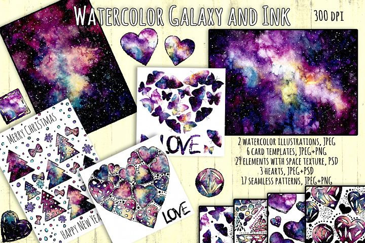 Watercolor Galaxy and Ink Collection