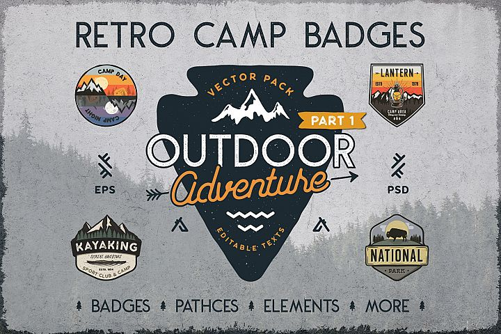 Retro Camp Badges / Outdoor Patches