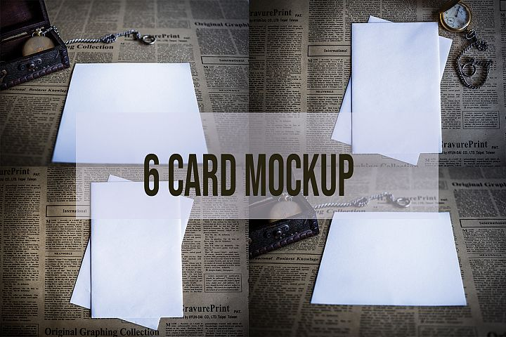 6 Card Mockup Photography Stock photo