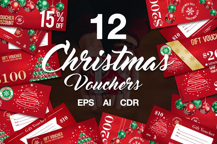 12 Christmas Voucher Template AI EPS CDR