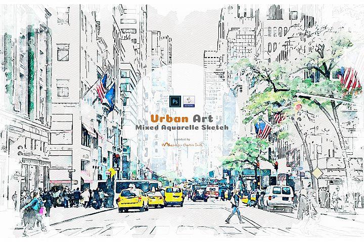 Urban Art - Mixed Aquarelle Sketch
