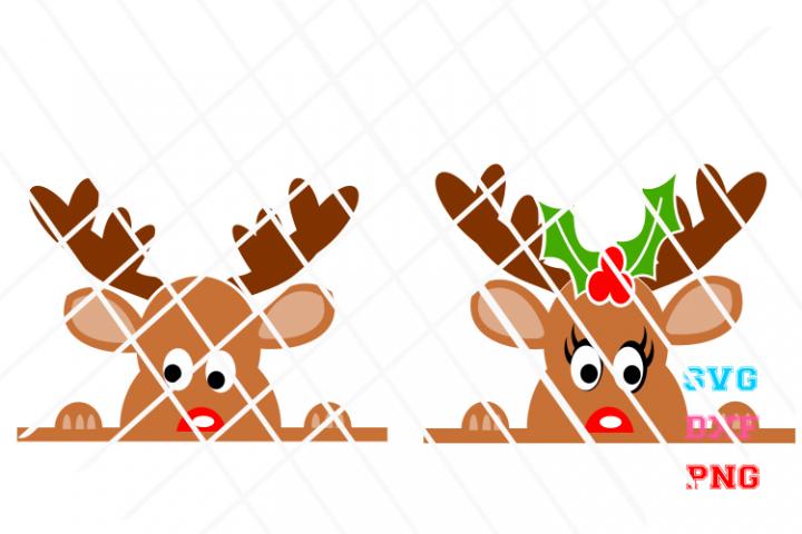 Peeking Reindeer svg, Christmas svg,santa svg