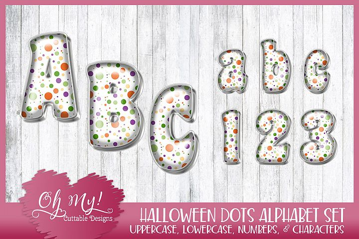 Halloween Dots Alphabet Bundle Clipart Graphics Word Art