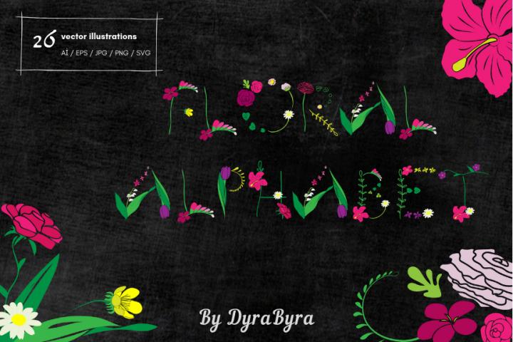 Monogram FLORAL ALPHABET- Spring/Flowers/ Easter/ Mothers d