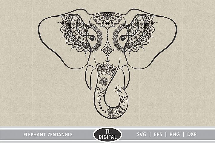 Elephant Zentangle - Mandala Art SVG | EPS | PNG | DXF