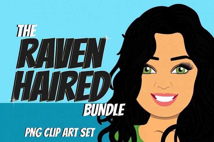 Raven Haired Woman Clip Art Bundle   Female Avatar   Graphic