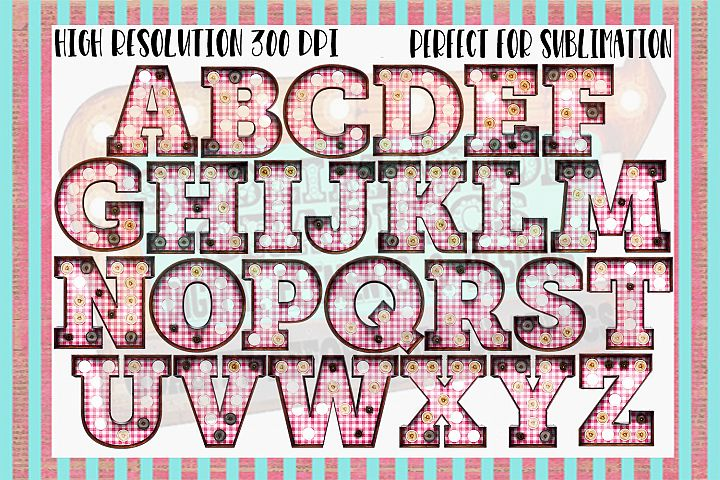 Pink Gingham Marquee Sublimation Digital Download