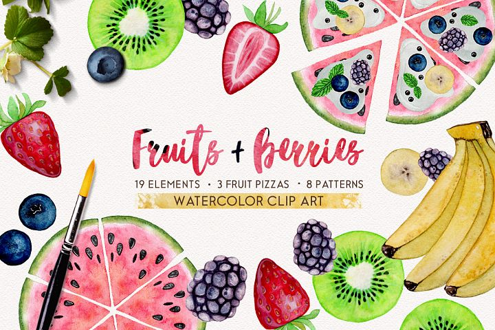 FRUITS + BERRIES watercolor set example