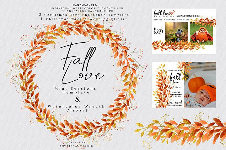 Fall Love Mini Sessions Template and Wreath Clip-art
