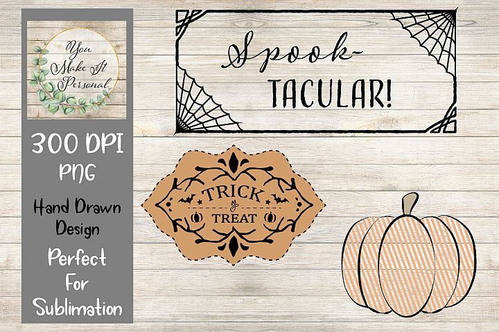 Set of 3, Halloween Designs, PNG