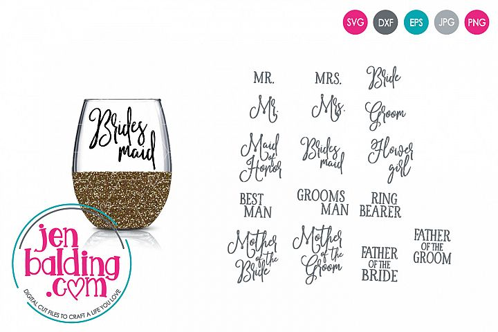 Wedding Party Titles SVG
