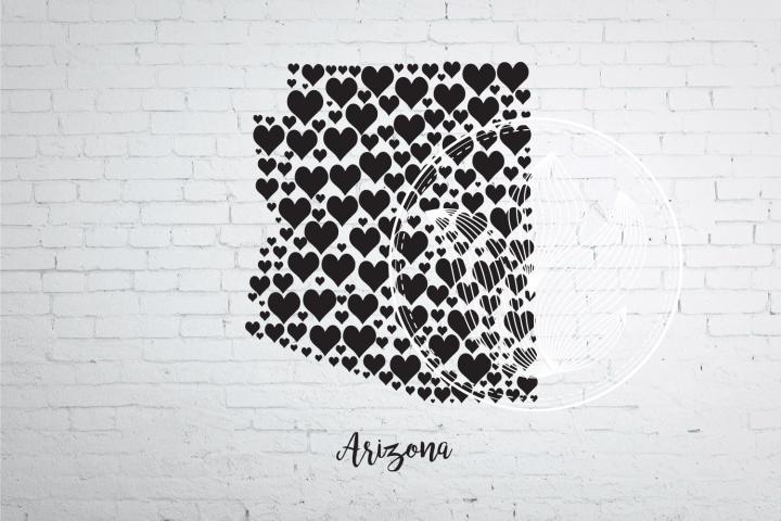 Arizona heart map jpg, png, eps, svg, dxf, pdf