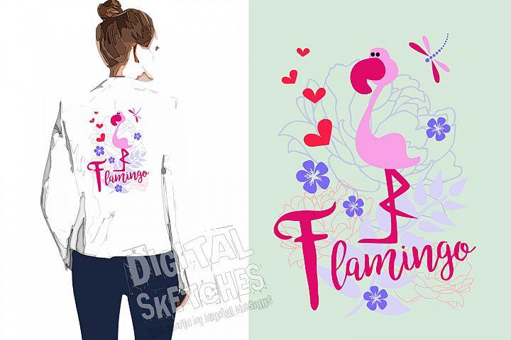 Flamingo Vector Graphic, Cut File, Flowers SVG, Cricut