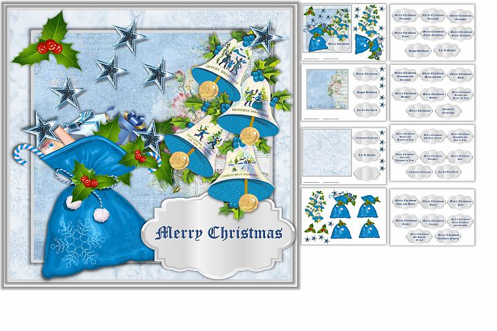 Christmas Card Kit. Printable JPEGS and PNG files CU