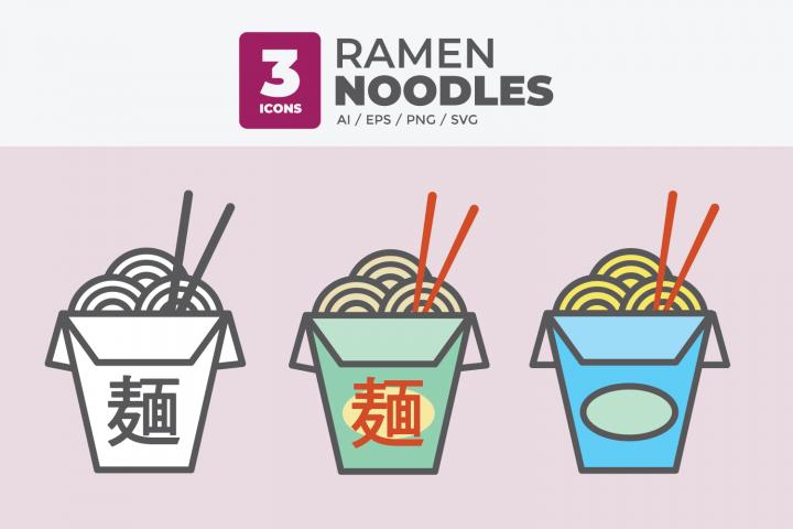 Ramen Noodles Icon Set, Asian Takeout Icon Noodles Kanji svg