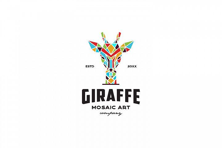 Giraffe Mosaic Art Logo