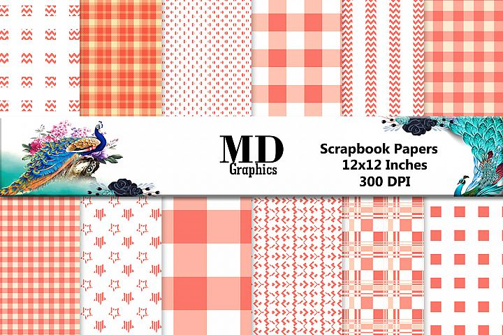 Orange Papers, Digital Stripes Papers,Buffalo Papers,Digital