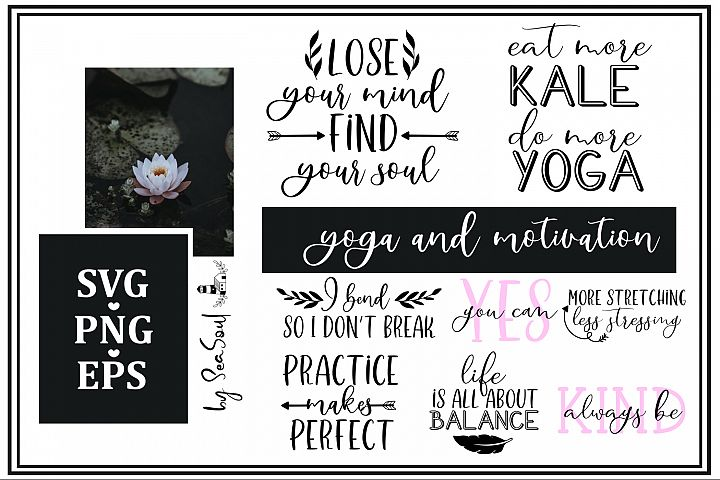 Yoga and motivation sayings. eps, svg, png